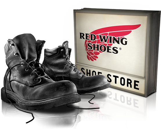 Photo of Red Wing boots and a store sign.